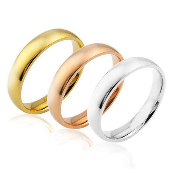 Men Women Lovers' Rings Rose Gold/Gold/Silver 316L Stainless Steel Engagement Wedding Ring Size 6/7/8/9/10/11/12