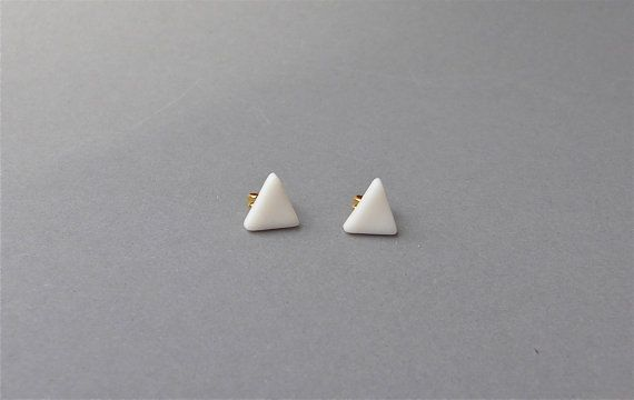 Minimalistic Porcelain Post Earrings -  White Triangle