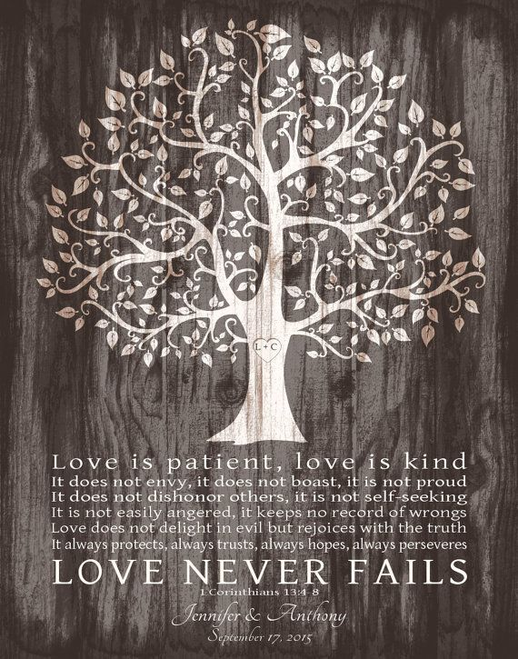 Personalized Wedding Gift for Couple Love is Patient Print 1 Corinthians 13:4-8 Anniversary Gift Family Tree FAUX WOOD Art Canvas Print