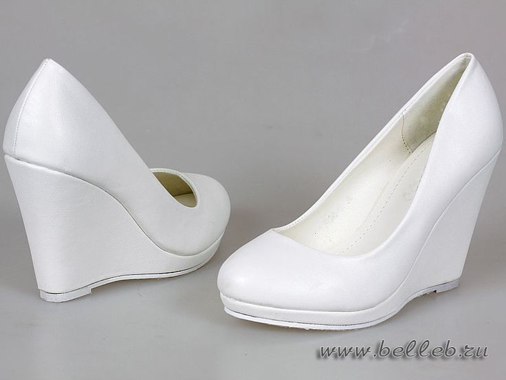 белые свадебные туфли на танкетке №197