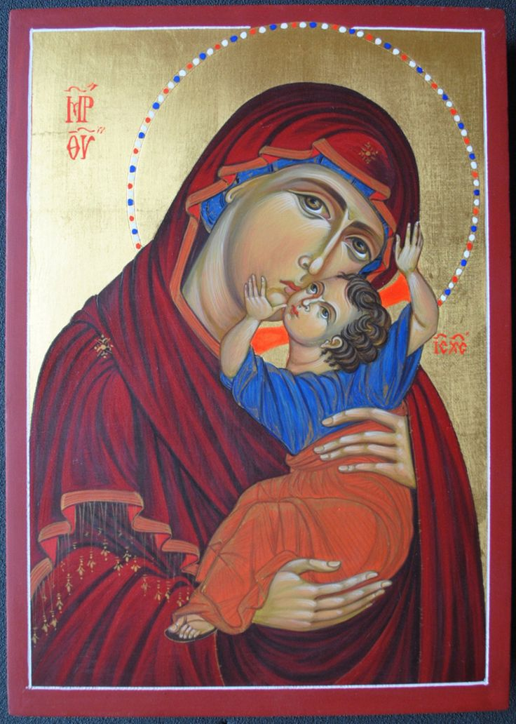 Icon of Mary and baby Jesus [Mary the mother of God] [Theotokos] by MarchelaDimitrovaArt on Etsy