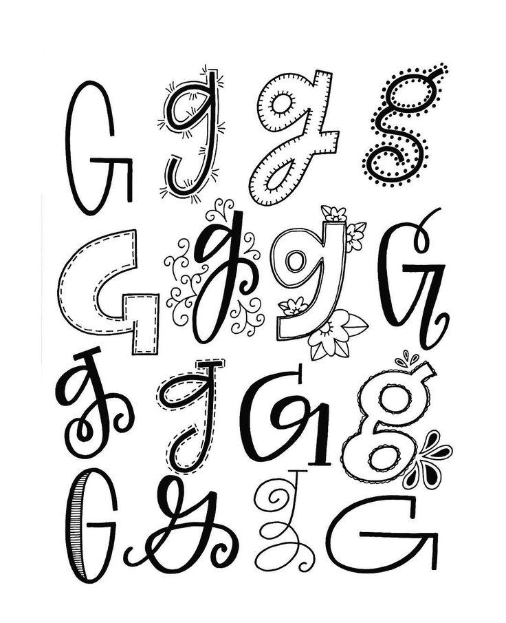Handlettering Möglichkeiten für den Buchstaben G