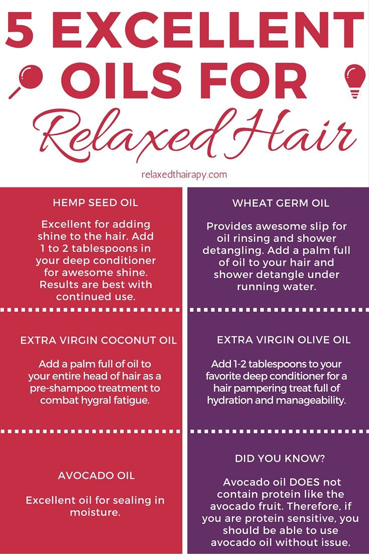 Get to know 5 of my favorite oils that are excellent Relaxed Hair. These oils are great for protecting and repairing the hair AND adding shine and manageability. relaxedthairapy.com