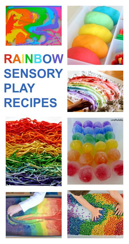 Lots of rainbow sensory play recipes