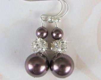 Elige tus pendientes de Dama de honor, Rhinestone y joyería de la perla de Dama de honor morado ciruela Borgoña Champagne Teal gris topo de oro rosa azul