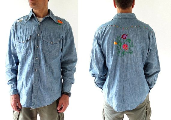 1970s Nature Boy embroidered chambray western shirt