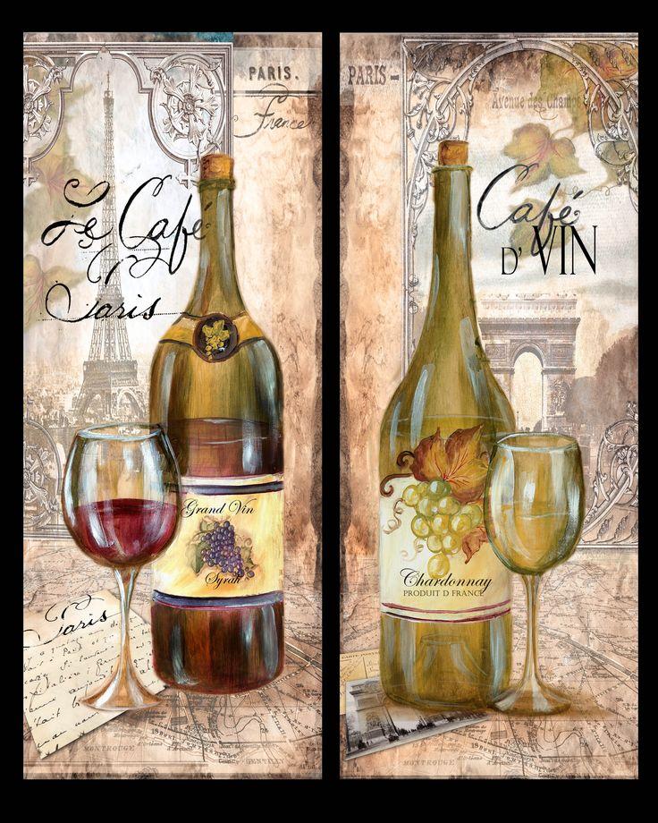 """""""Paris Cafe Wine Bottles"""" ~ Tre Sorelle Studios"""