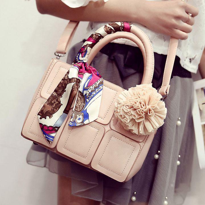 Women's handbag 2016 one shoulder cross-body bag small color block patchwork handbag tassel silk scarf bag Pu Leather