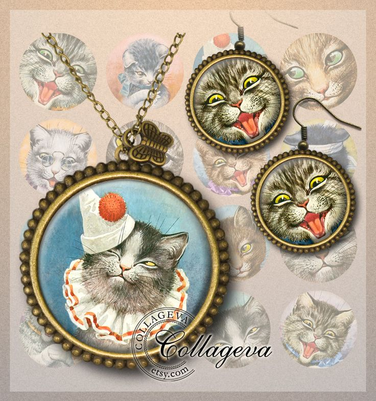 Vintage Cats Digital Collage Sheet funny Kitty Kitten Tomcat Tabby cat Feline printable clipart images, 20 18 16 14 12 mm circles (EA02-c) by collageva on Etsy