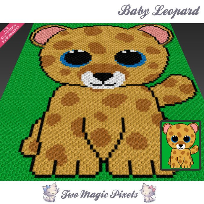 Baby Leopard crochet blanket pattern; c2c, knitting, cross stitch graph; pdf download; no written counts or row-by-row instructions by TwoMagicPixels, $3.79 USD
