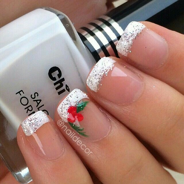 Christmas nails mistletoe designed with white tipped glitter