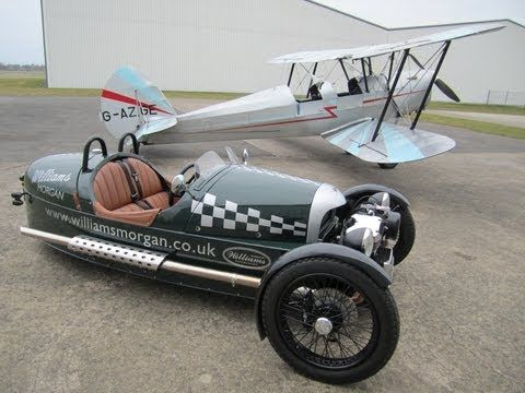 New Morgan 3 Wheeler (M3W) taken to visit a 1946 Tiger Moth.
