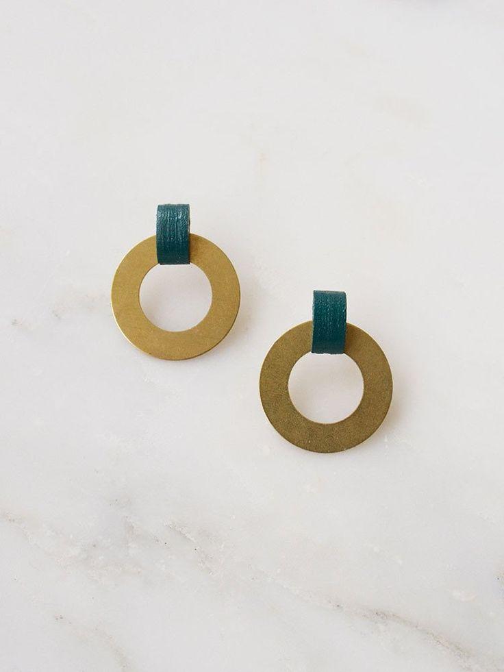 Forest Green Disc Hoop Earrings by Wolf & Moon