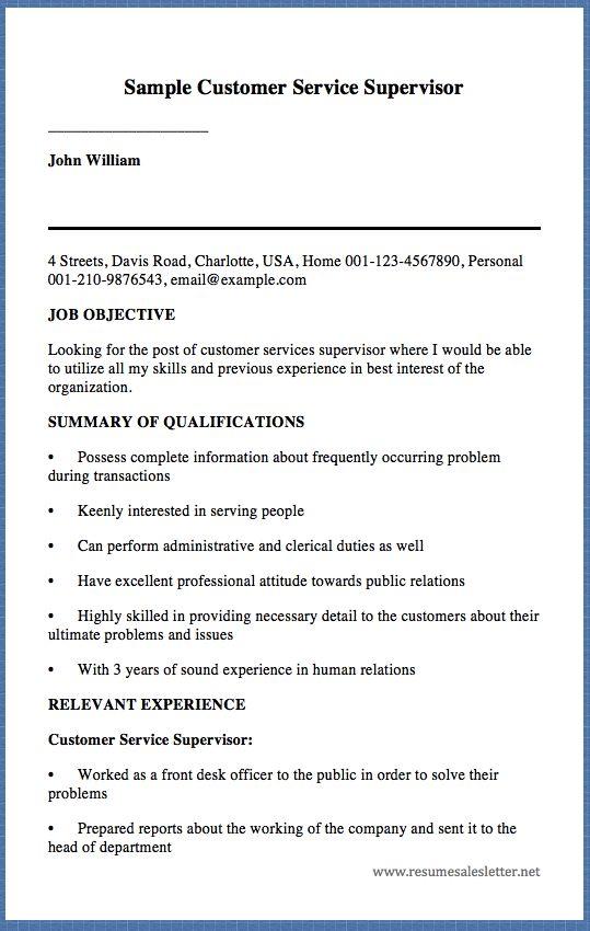 Sample Customer Service Supervisor John William 4 Streets, Davis - resume usa