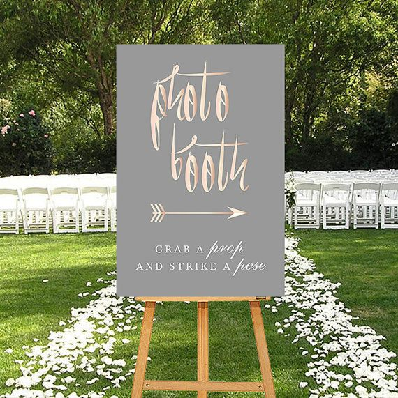 Printable Photo Booth Sign Rosegold DIGITAL Sign by P27Creative