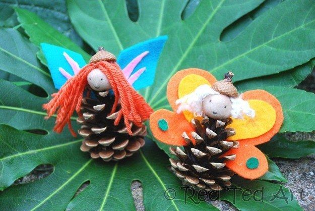 Make a pine cone fairy | Community Post: 13 Outdoor Art Projects For Kids To Make