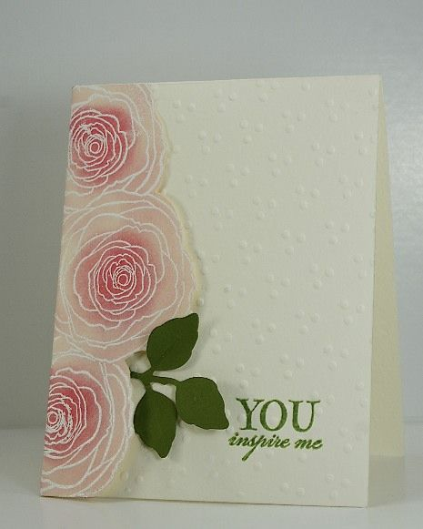 gorgeous effect with white embossed flowers and underpainting with pinks on vellum...the embossed card makes them pop!!!