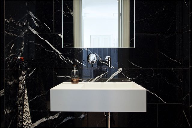 Guestbathroom in Black marble