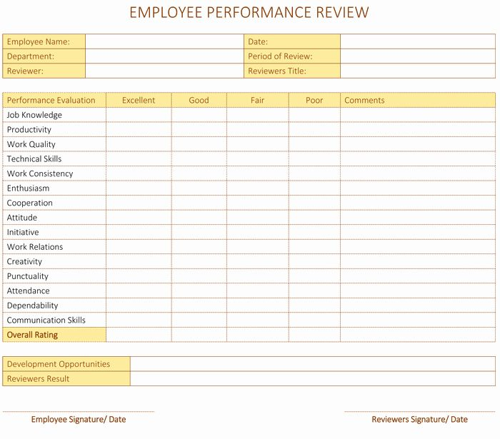Employee Performance Scorecard Template Excel Fresh Employee Performance Review Template Employee Performance Review Performance Evaluation Performance Reviews