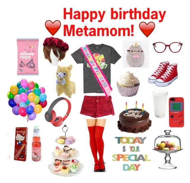 """HAPPY BIRTHDAY METAMOMMM"" by supernova-1000 ❤ liked on Polyvore featuring Nintendo, J Brand, Pusheen, American Apparel, We Take the Cake, The Cellar, Hershey's, Hello Kitty and Beats by Dr. Dre"