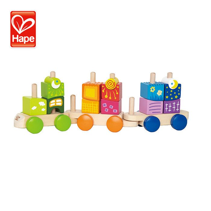 Wholesale Toys Cheap Baby colorful can put blocks train wooden toys