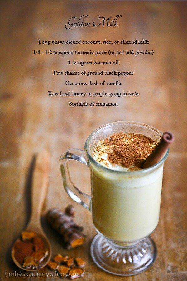 golden milk.  Note: turmeric can stain teeth, clothes, counters so, drink with straw and wipe any drips.