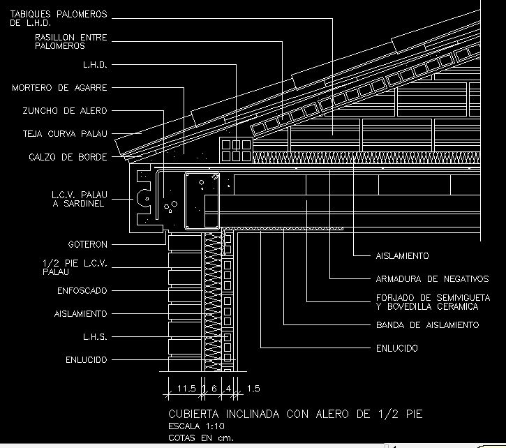 Detalle cad cercha de madera techo de tejas google for Tejas livianas para techos