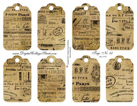 Instant Download French Tags Digital by DigitalCollageSheets, $3.95