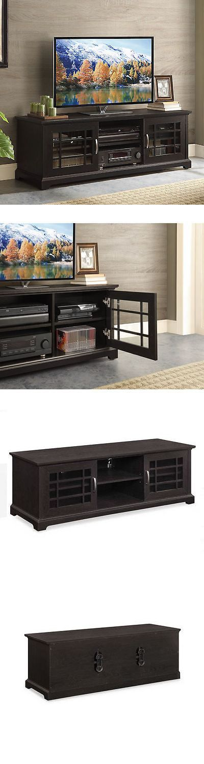 Entertainment Units TV Stands: Tv Cabinet Console Stand Entertainment Center Media Glass Doors 3 Shelves 70 BUY IT NOW ONLY: $213.95