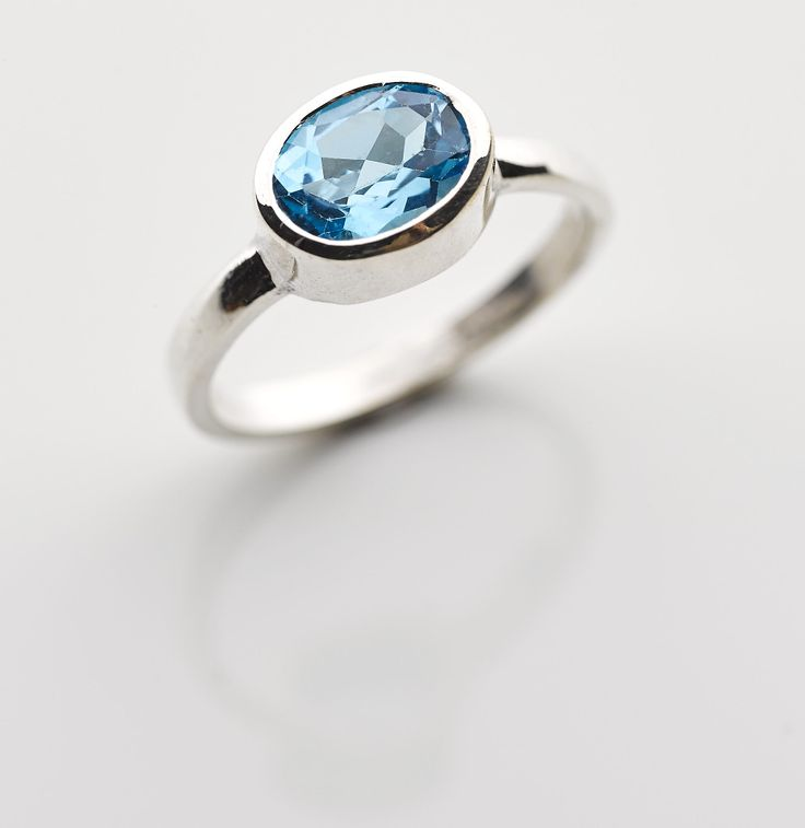 Large oval Blue Topaz in a sterling silver band