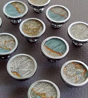 vintage custom map drawer pull