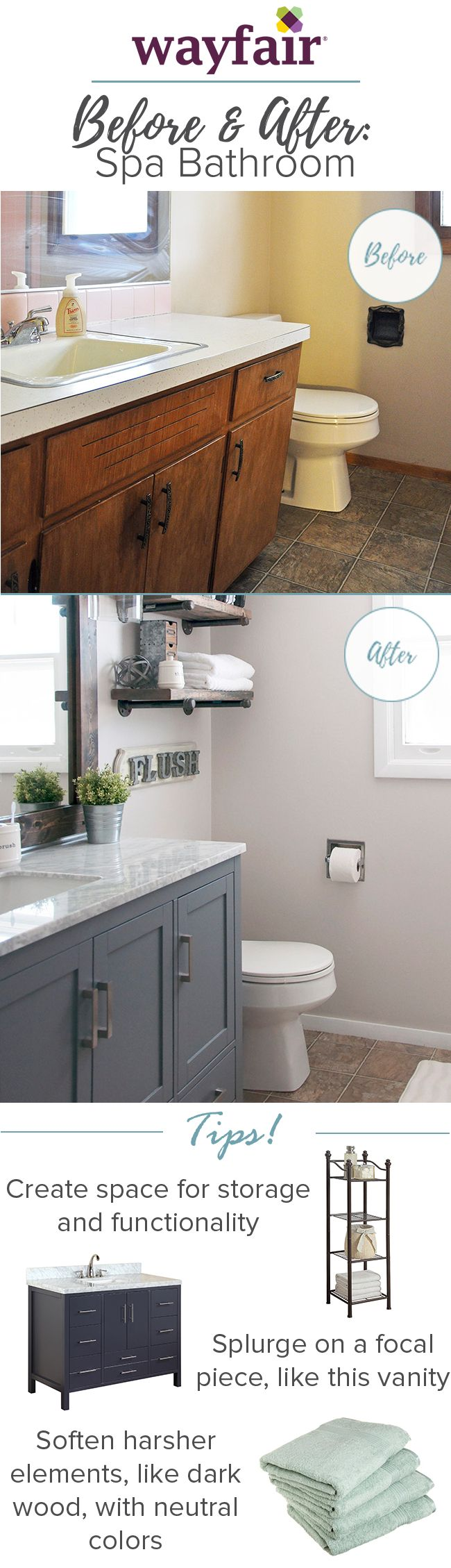 Before & After: Pink and Outdated to Industrial Farmhouse See how this pink tiled, crayon-scribbled bathroom became a farmhouse haven without breaking the bank!