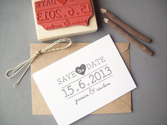 Save the Date Rubber Stamp , DIY Bride Wedding Invitation , Personalize with Names and Date