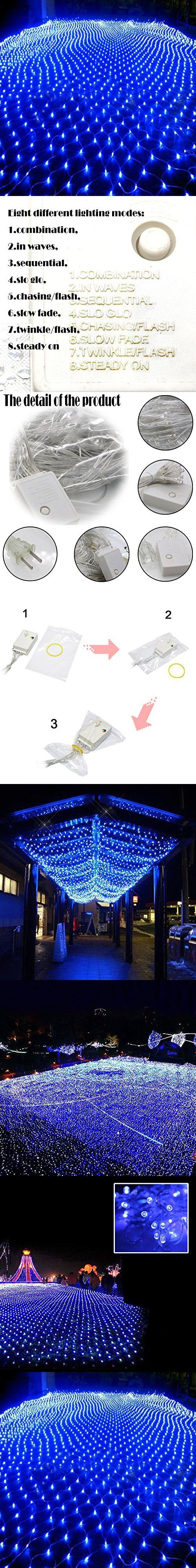 Bestface 3m x 2m 210 LED Clear Net Lights Fairy Lights Outdoor Party Christmas Xmas Wedding Home Garden Decorations 8 Modes for Flashing (Blue)