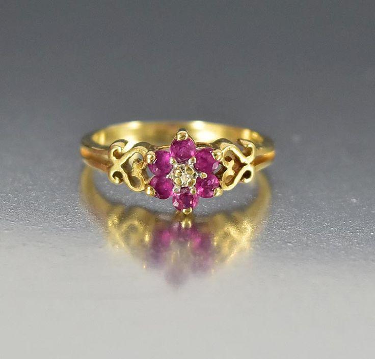 Vintage Estate 10K Gold Heart Diamond Ruby Ring for Pinky   #Diamond #Ring #intage #Heart #Pink #Ruby #Vintage #Yellow #Gold #Gate