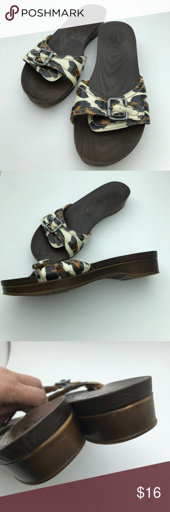 """Dr. Scholl's Leopard Print Sandals Oh yeah....the more """"leopardy"""" the better! Fun sandals, all man made, size 8, have been worn - still in good shape. I offer 15% off bundles - make your shipping cost worth your while!  T1 Dr. Scholl's Shoes Sandals"""