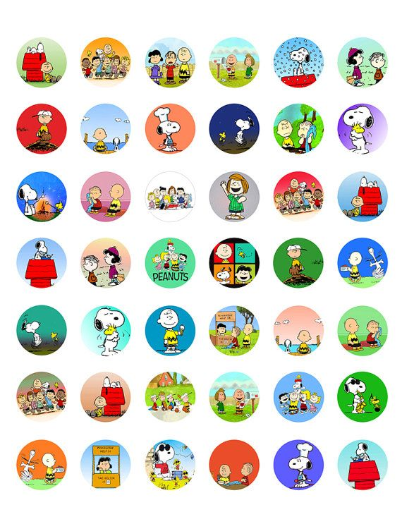 """Charlie Brown, Snoopy & Peanuts Characters - Printable 1"""" Bottle Caps - 42 Different Designs"""