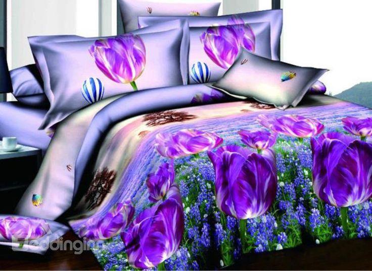 Fragrant Purple Flower And Lavender Field Flying Petal Print 4 Piece Polyester Duvet Cover Sets