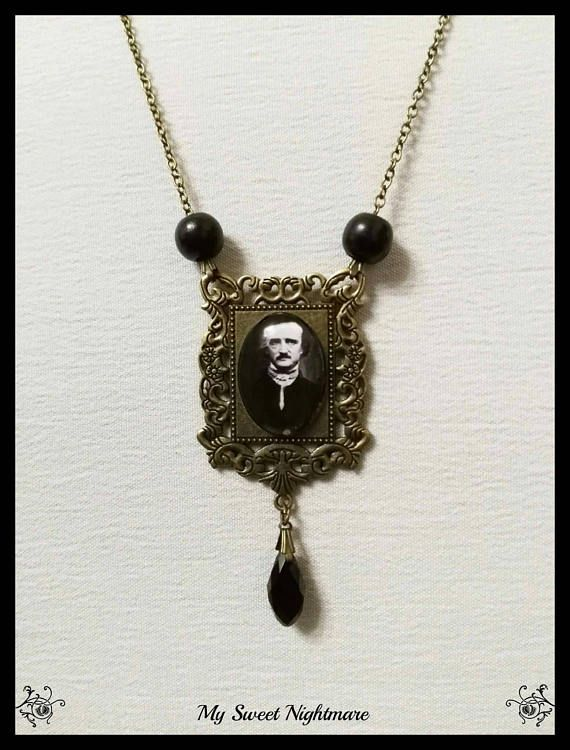 Edgar Allan Poe gothic photo cammeo necklace 25x18 pendant the