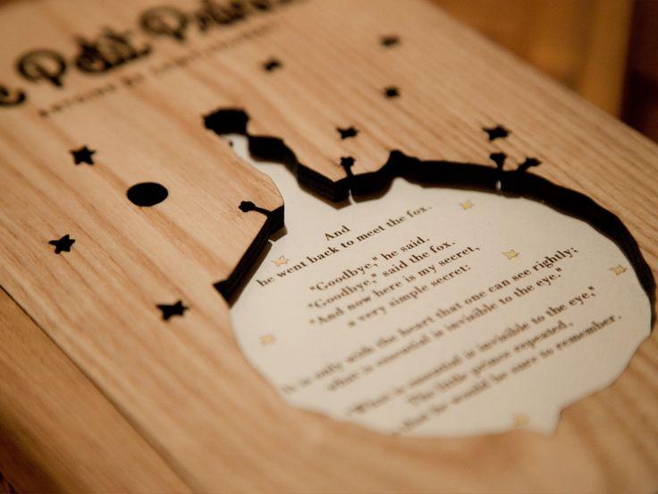 wooden book lamp, le petit prince