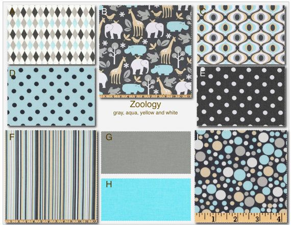 Custom Modern Baby Crib Bedding -Design Your Own Baby Bedding-  Zoology in gray, aqua and yellow