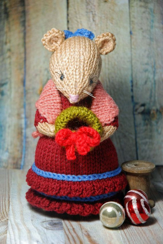 Knitted Christmas Mouse Lady - Holiday Mouse Decoration