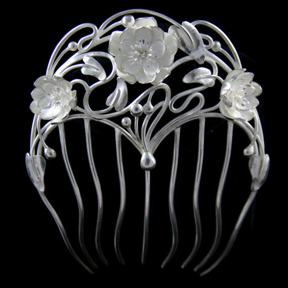 "Art Nouveau hair comb ""Water lily"", lotus flowers, OOAK sterling silver accessory on Etsy, $1,104.36"