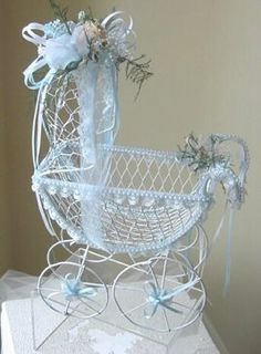 Wire Baby Buggy Centerpiece Baby Carriage Centerpiece