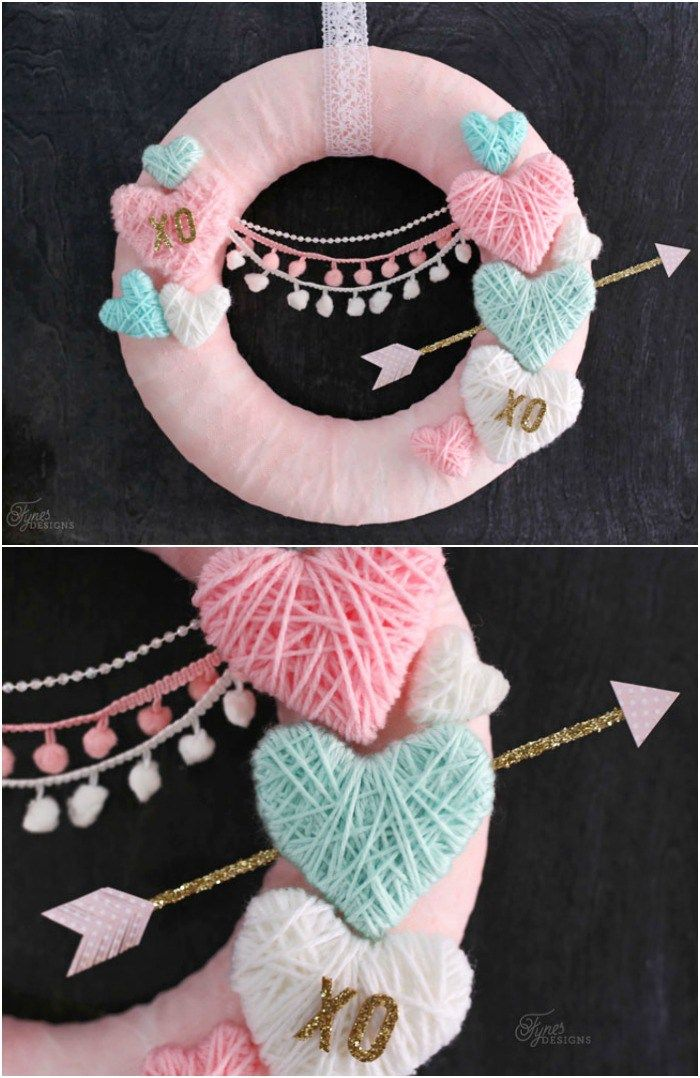 Wrap styrofoam hearts in yarn for a kid friendly Valentine's Day craft. NO GLUE, NO MESS! Use to create Valentine's day wreaths, flower picks, and garland.