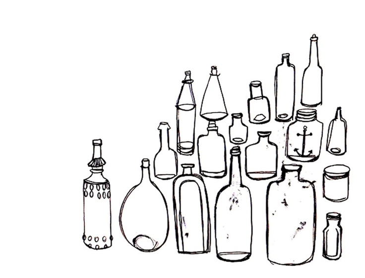 Black And White Vintage Bottle Collection Illustration Print Of Original 8x10