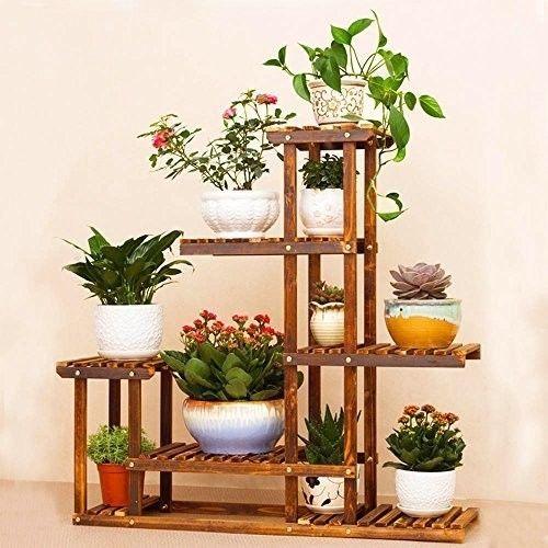 Wooden Plant Flower Pot Display Stand Shelf Storage Rack Outdoor Indoor 6 Holder