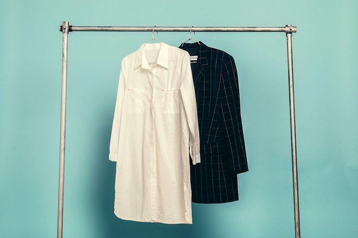 Dress: http://retrock.com/products/white-shirtdress   Coat: http://retrock.com/products/gerry-weber-plaid-coat