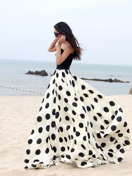 Charming Chiffon Polka Dot Pattern Long Maxi Skirts Black&White