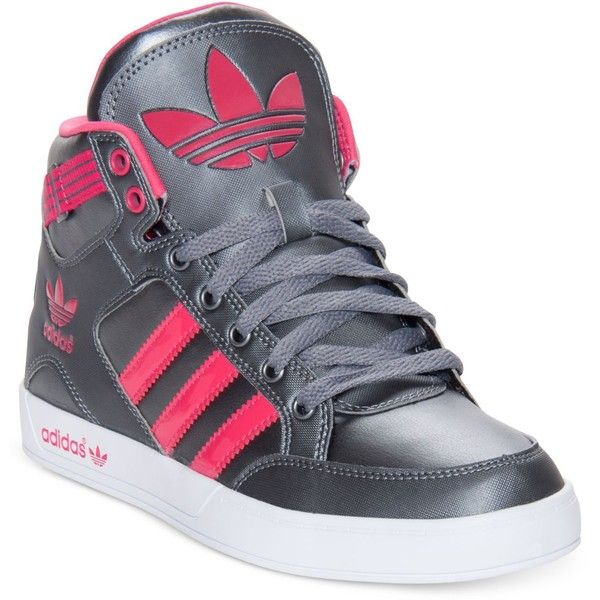 adidas Women's Originals Hardcourt Casual Sneakers from Finish Line ($40) ❤ liked on Polyvore featuring shoes, sneakers, adidas, high top leather shoes, leather shoes, genuine leather shoes, high top sneakers and adidas trainers